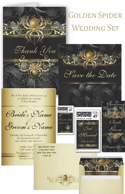 Elegant  spider wedding invitations and matching stationery