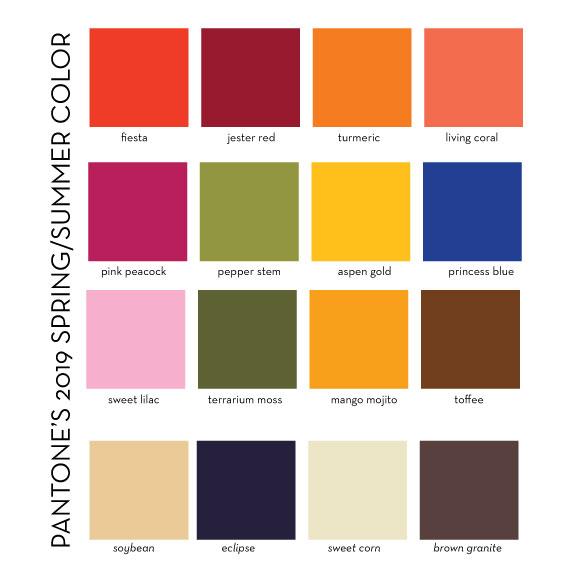 Pantone 2019 spring colors