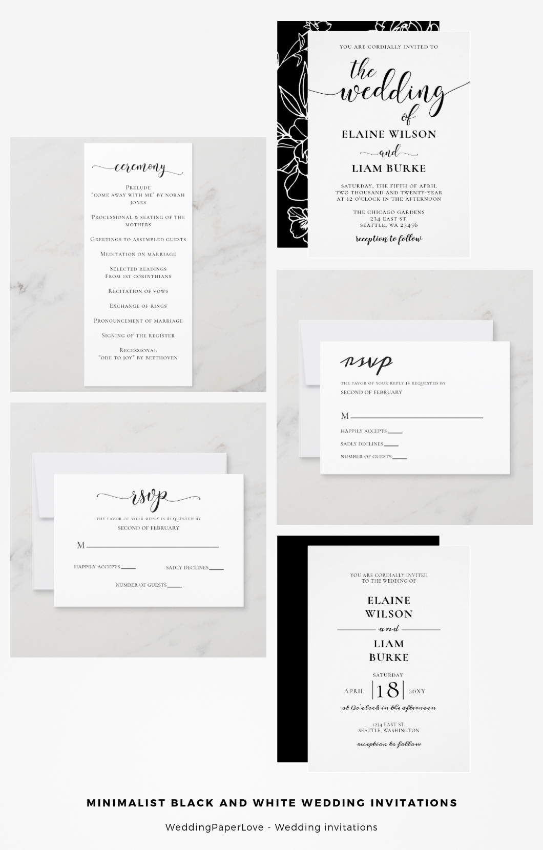 blessed wedding minimal black