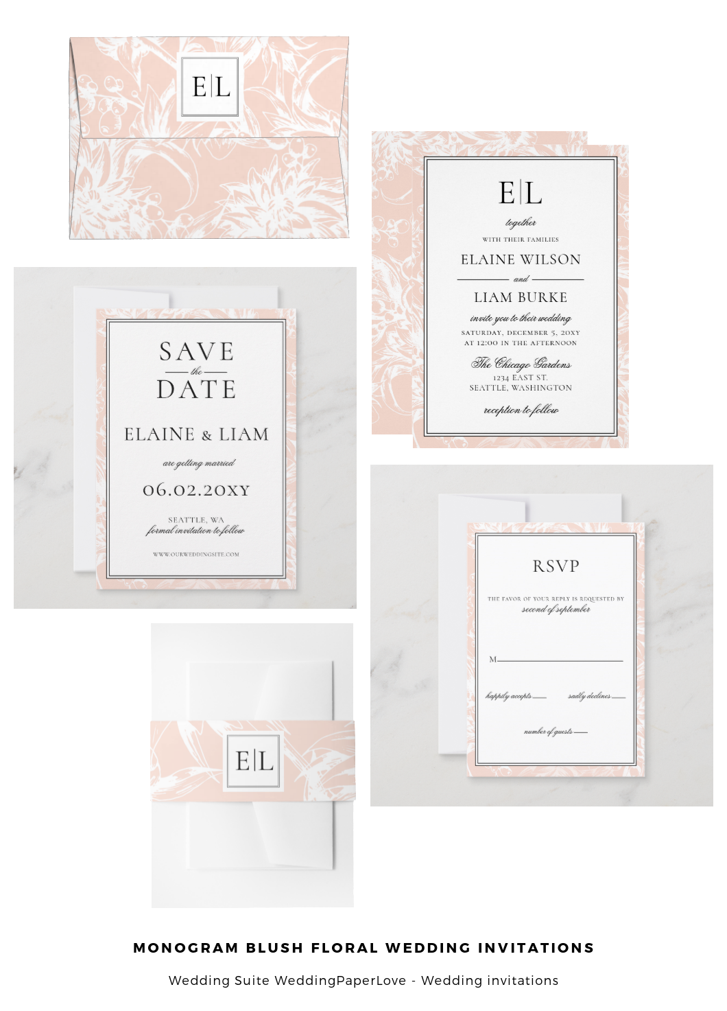 minimal peach blessed wedding